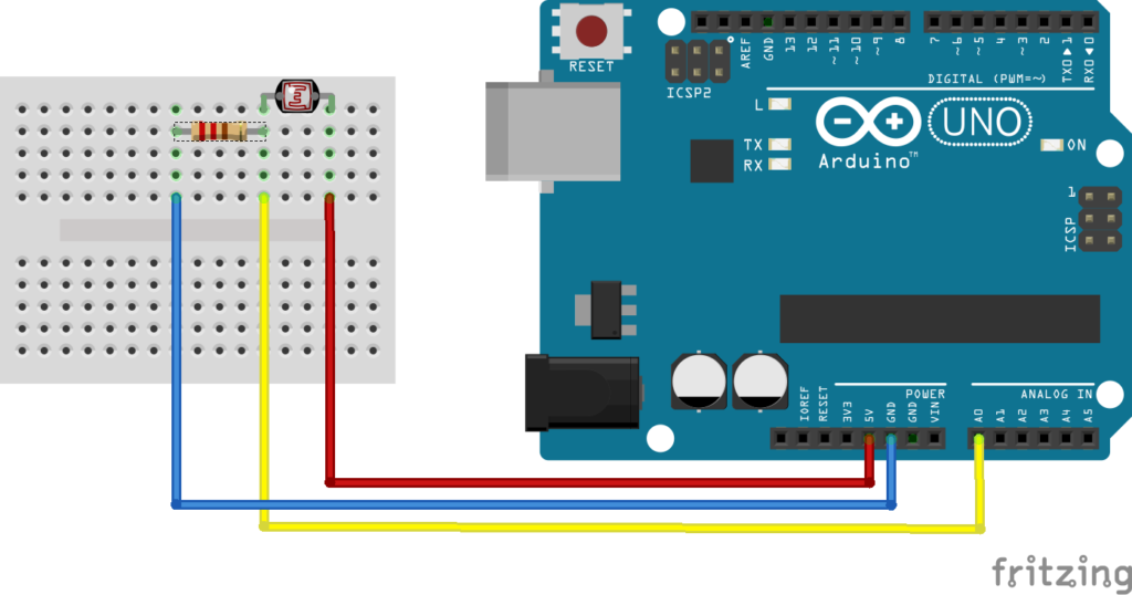 Aansluitschema LDR sensor op Arduino board, op een ESP8266 of D1 Mini werkt nagenoeg hetzelfde | Huisvanvandaag.nl