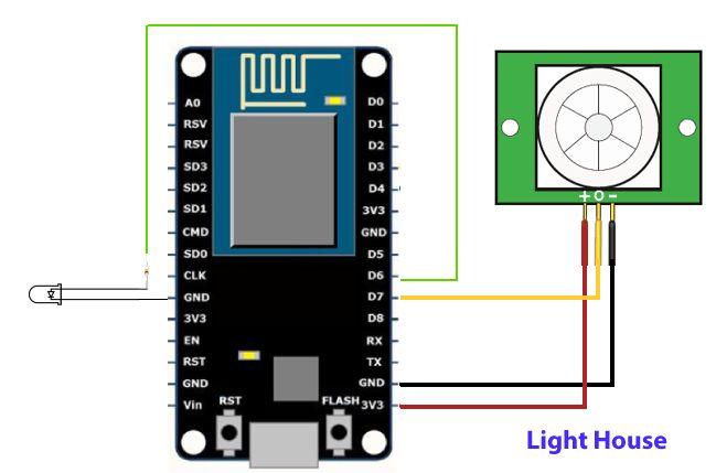 PIR aansluitschema zoals gebruikt bij de oorsponkelijke code op Intstructables.com | Huisvanvandaag.nl