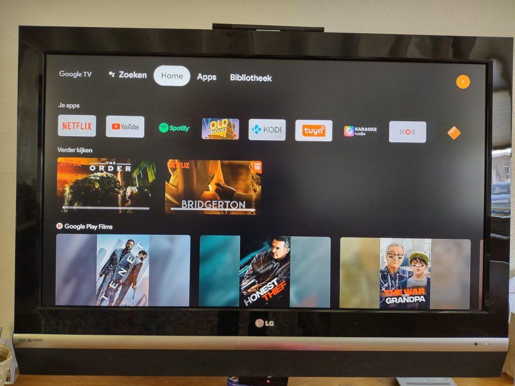De gebruikers interface van Google TV